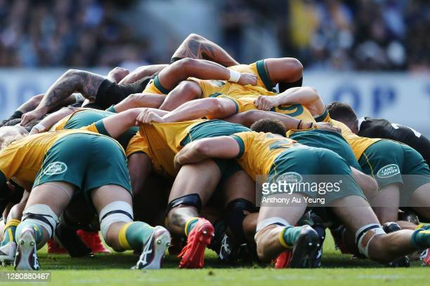 The Wallabies pack in a scrum during the Bledisloe Cup match between the New Zealand All Blacks and the Australian Wallabies at Eden Park on October...