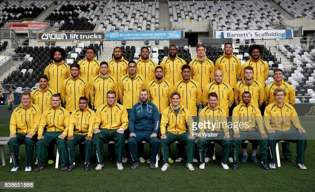 The Wallabies pose for a team photo during an Australia Wallabies Captain's Run at Forsyth Barr Stadium on August 25, 2017 in Dunedin, New Zealand.