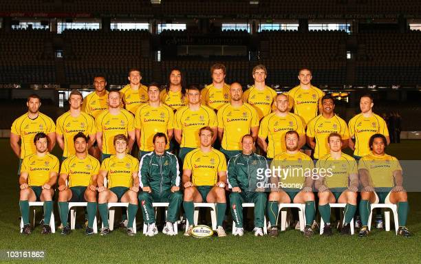 The Wallabies pose for a team photo during the Australian Wallabies Captain's Run at Etihad Stadium on July 30, 2010 in Melbourne, Australia.