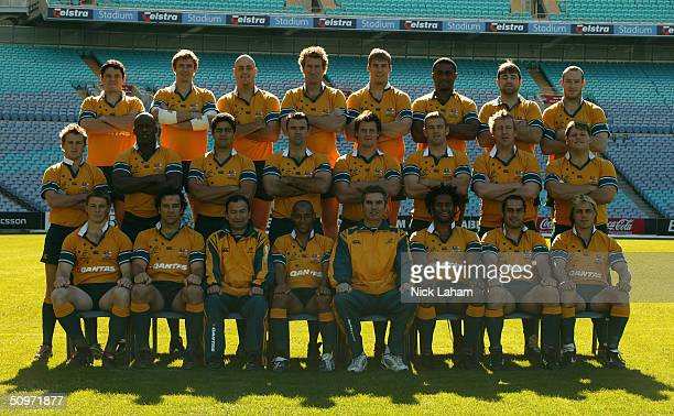 The Wallabies pose for a team photo during the Australian Wallabies Captains Run at Telstra Stadium June 18, 2004 in Sydney, Australia.