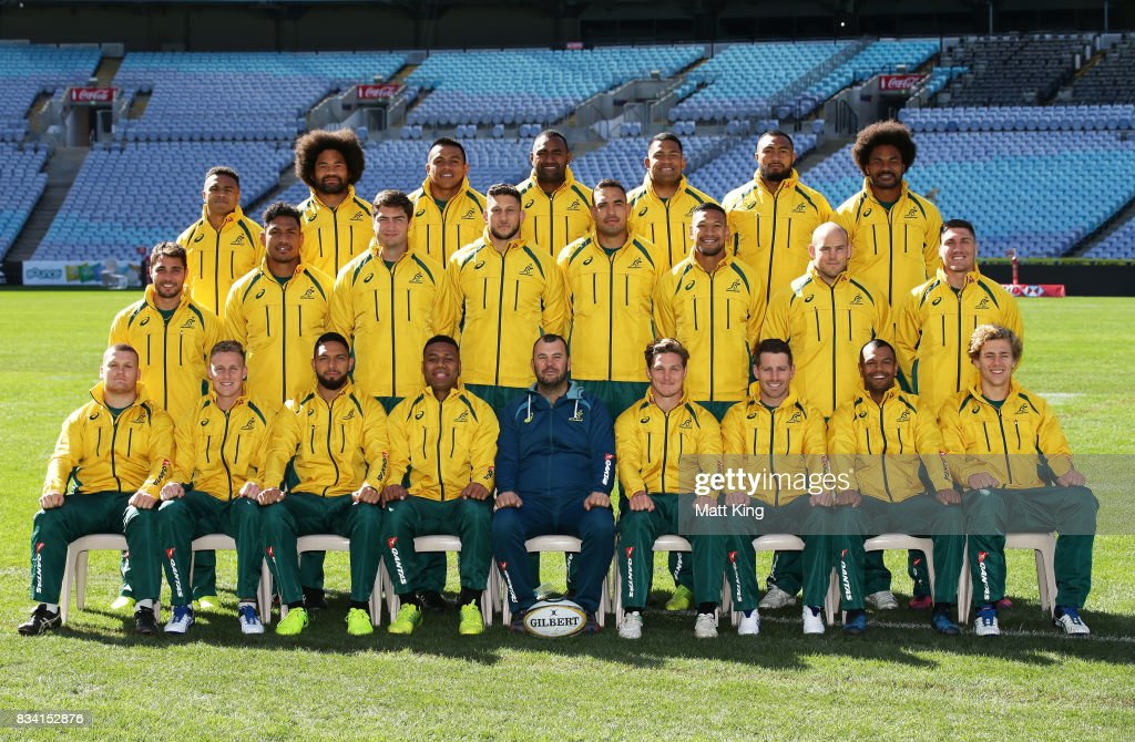 The Wallabies pose for a team photo during the Australian Wallabies Captain's Run at ANZ Stadium on August 18, 2017 in Sydney, Australia.