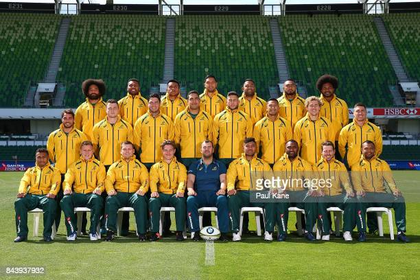 The Wallabies pose for a team photo during the Australian Wallabies Captain's Run at nib Stadium on September 8 2017 in Perth Australia