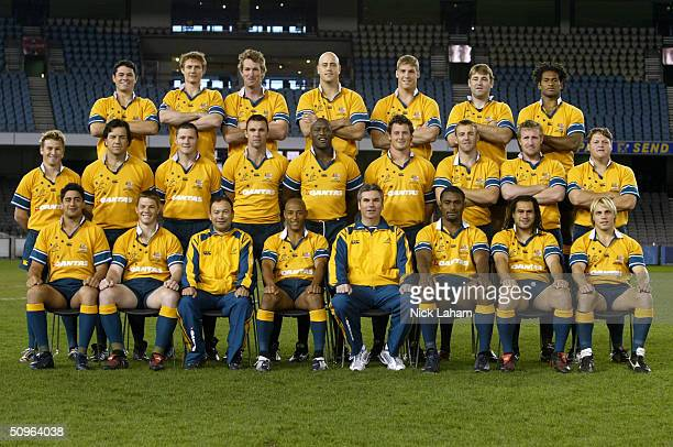 The Wallabies pose for their team photo during the Australian Wallabies Captains Run at Telstra Dome June 12, 2004 in Melbourne, Australia.