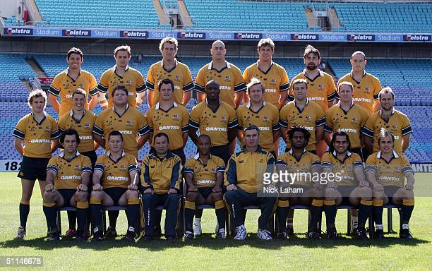 The Wallabies pose for their team photo during the Australian Wallabies Captains Run at Telstra Stadium August 8, 2004 in Sydney, Australia.