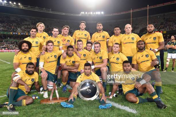 The Wallabies pose with the Nelson Mandela Challenge Plate during the Rugby Championship 2017 match between South Africa and Australia at Toyota...