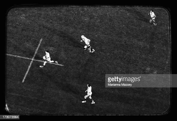 The Wallabies run the ball down the field during the International Test match between the Australian Wallabies and the British Irish Lions at ANZ...