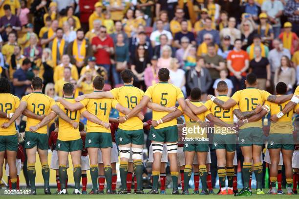 The Wallabies sing the anthem before the International Test match between the Australian Wallabies and Italy at Suncorp Stadium on June 24 2017 in...