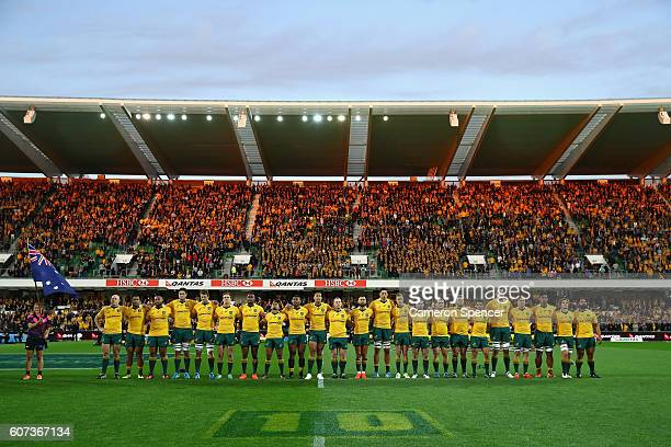 The Wallabies sing the Australian national anthem during the Rugby Championship match between the Australian Wallabies and Argentina at nib Stadium...
