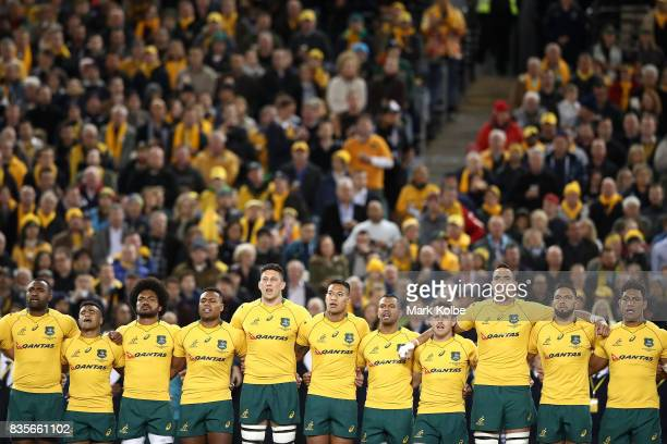 The Wallabies sing the national anthem before The Rugby Championship Bledisloe Cup match between the Australian Wallabies and the New Zealand All...
