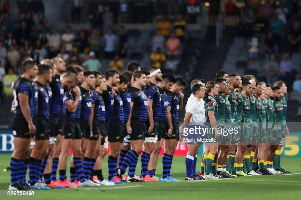 The Wallabies sing the national anthem during the 2020 Tri-Nations match between the Australian Wallabies and the Argentina Pumas at Bankwest Stadium...