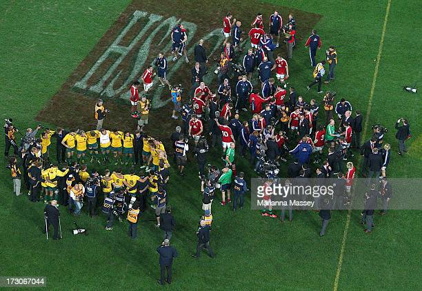The Wallabies team circle up at the end of the game during the International Test match between the Australian Wallabies and British Irish Lions at...