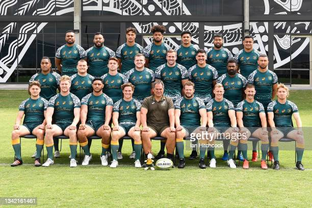The Wallabies team pose for a team photo during the Australian Wallabies captain's run at North Queensland Cowboys on September 24, 2021 in...