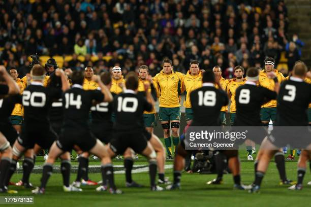 The Wallabies unite as they watch the All Blacks perform the Haka during The Rugby Championship Bledisloe Cup match between the New Zealand All...