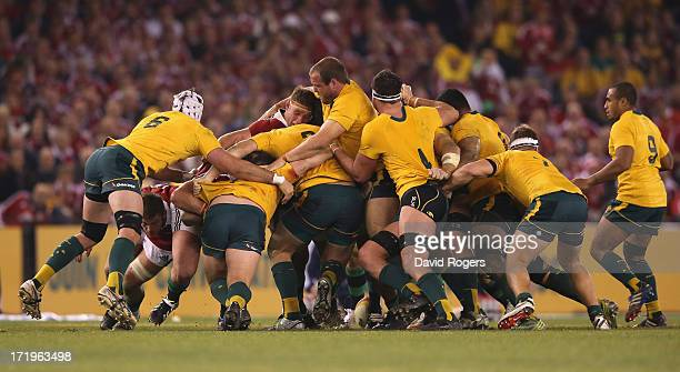 The Wallaby pack cause problems for the Lions during game two of the International Test Series between the Australian Wallabies and the British Irish...