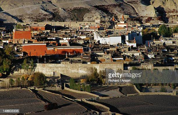 the walled city of lo manthang is situated on a plateau at 3840m and is the capital of upper mustang. - lo manthang stock pictures, royalty-free photos & images