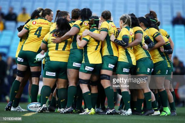 The Wallroos prepare for the Women's Rugby International match between the Australian Wallaroos and New Zealand Black Ferns at ANZ Stadium on August...
