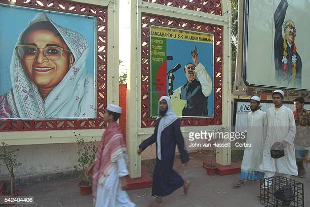 The walls are decorated with portraits of the Prime Minister of Bangladesh Sheikh Hasina and Sheikh Mujibur Rahman former Prime Minister considered...