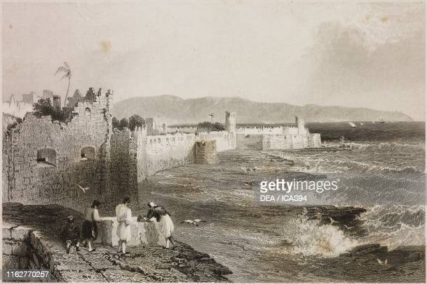 The walls of Acre Israel engraving by J Tingle after a drawing by W H Bartlett from La Siria e l'Asia minore illustrate by Giorgio Briano Turin