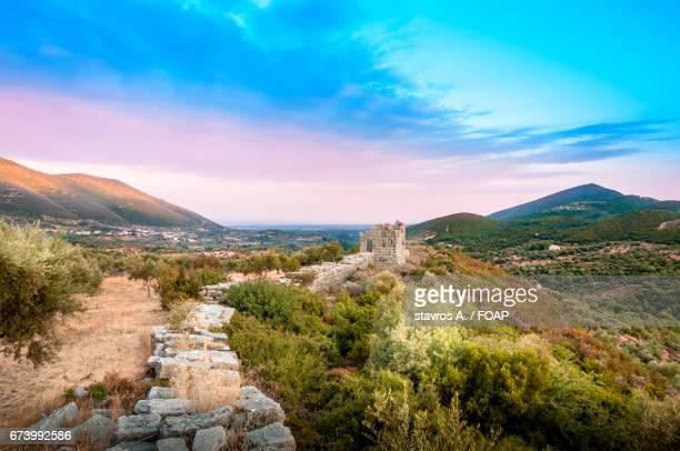the walls of ancient messini greece - messenia fotografías e imágenes de stock