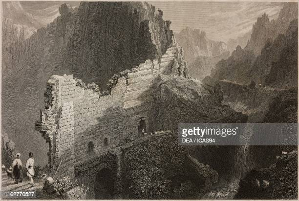 The walls of Antioch Turkey engraving by S Lacey after a drawing by W H Bartlett from La Siria e l'Asia minore illustrate by Giorgio Briano Turin