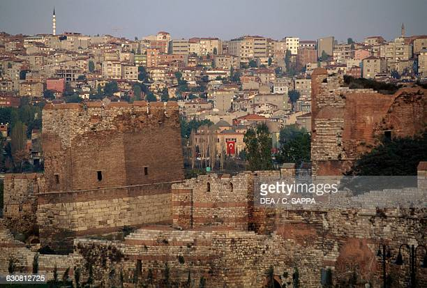 The walls of Constantinople or Theodosian walls historic centre of Istanbul Turkey 5th century