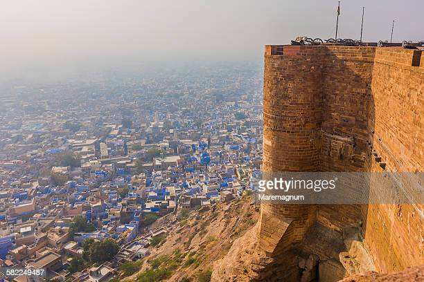 The walls of Meherangarh Fort and the blue town