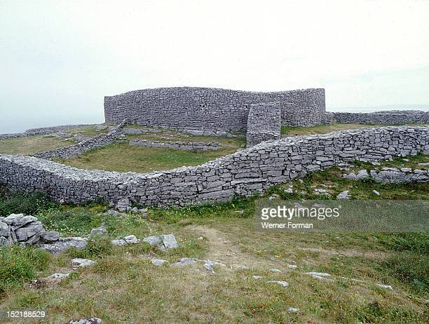 The walls of the Fort of Dun Aengus on the Isle of Inishmore CoGalway Said to have been built by the mythical race the Fir Bholg Ireland Celtic...