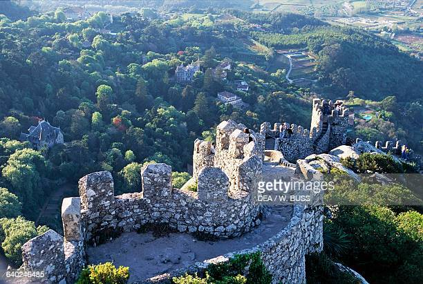 The walls of the Moorish castle or Castle of the Moors Sintra historical province of Extremadura Lisbon Portugal 12th19th century