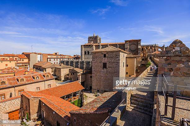 the walls walk and the cathedral - avila stock photos and pictures