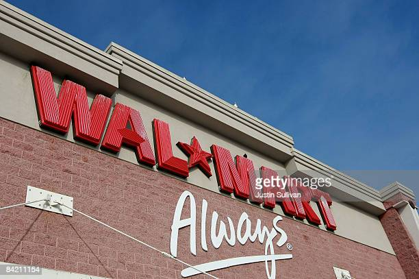 The WalMart logo is displayed on the exterior of a WalMart store January 8 2009 in Oakland California WalMart has posted weaker than expected same...