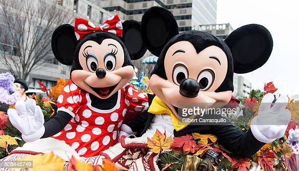 The Walt Disney characters Minnie and Mickey Mouse during the 95th Annual 6abc Dunkin' Donuts Thanksgiving Day Parade in Philadelphia Pennsylvania