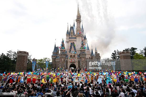 The Walt Disney Co characters perform during a ceremony to mark the 30th anniversary of Tokyo Disneyland operated by Oriental Land Co at the...