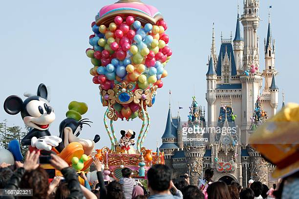 The Walt Disney Co characters perform during a new parade to commemorate the 30th anniversary of Tokyo Disneyland operated by Oriental Land Co at the...