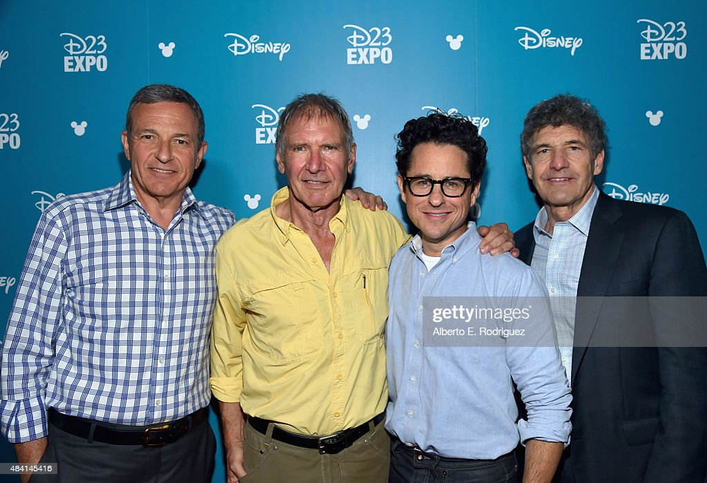 The Walt Disney Company Chairman and CEO Bob Iger, actor Harrison Ford and director J.J. Abrams of