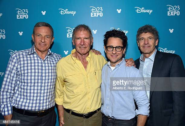 The Walt Disney Company Chairman and CEO Bob Iger actor Harrison Ford and director JJ Abrams of STAR WARS THE FORCE AWAKENS and Chairman of the Walt...