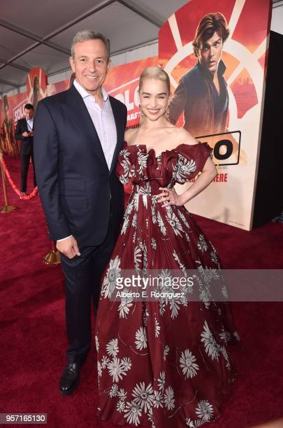 "The Walt Disney Company Chairman and CEO Bob Iger and actor Emilia Clarke attend the world premiere of ""Solo A Star Wars Story"" in Hollywood on May..."