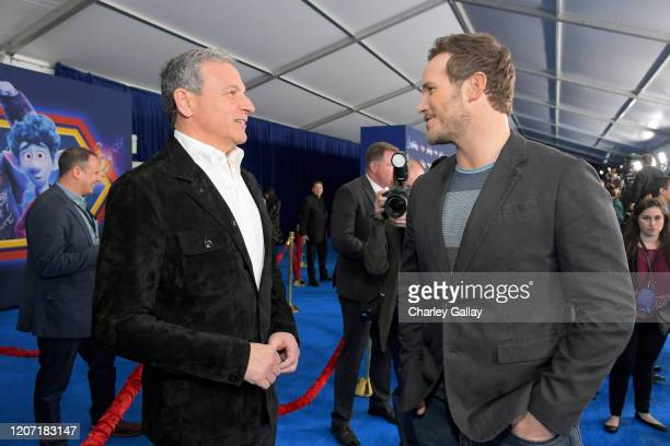The Walt Disney Company Chairman and CEO Bob Iger and Chris Pratt attend the world premiere of Disney and Pixar's ONWARD at the El Capitan Theatre on...