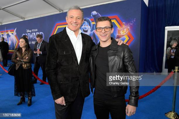 The Walt Disney Company Chairman and CEO Bob Iger and Tom Holland attend the world premiere of Disney and Pixar's ONWARD at the El Capitan Theatre on...