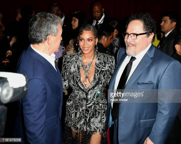 """The Walt Disney Company Chairman and CEO Bob Iger, Beyoncé, and Jon Favreau attend the premiere of Disney's """"The Lion King"""" at Dolby Theatre on July..."""