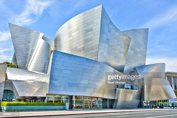 The Walt Disney Concert Hall in downtown Los Angeles designed by architect Frank Gehry. The building's exterior with stainless steel with a matte...
