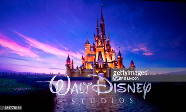 The Walt Disney Studios logo is projected onscreen during the CinemaCon Walt Disney Studios Motion Pictures Special presentation at the Colosseum...