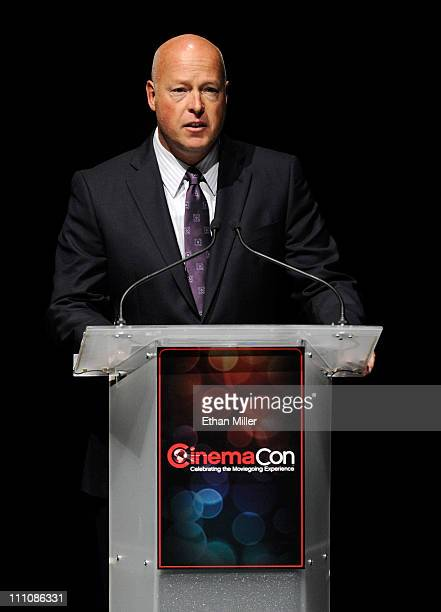 The Walt Disney Studios President of Distribution Bob Chapek speaks at The Colosseum at Caesars Palace during CinemaCon the official convention of...