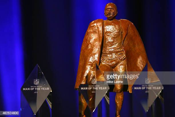 The Walter Payton Man of the Year Trophy sits on display during the NFL Walter Payton Man of The Year Press Conference prior to the upcoming Super...