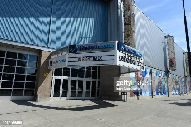 The WaMu Theater and event center sits idle on Occidental Avenue next to Century Link Field during the Coronavirus pandemic on May 9 2020 in Seattle...