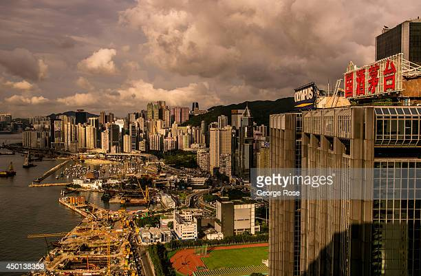 The Wan Chai District skyline is viewed at sunset on May 24 in Hong Kong China Viewed as the world's third most important trade and financial centers...