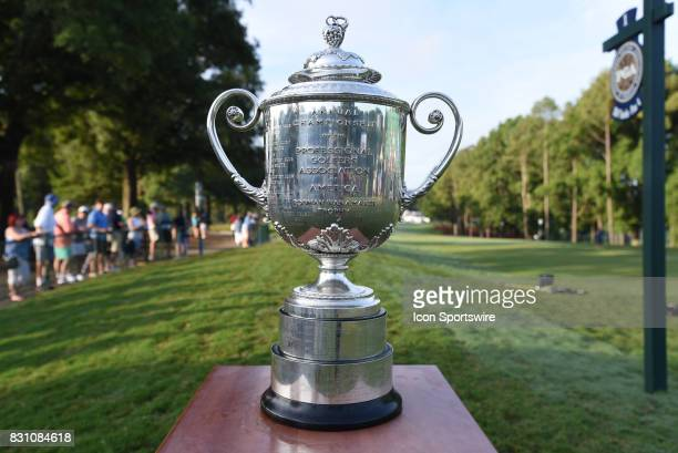 The Wanamaker Trophy is displayed beside the first tee box during the final round of the PGA Championship on August 13, 2017 at Quail Hollow Golf...