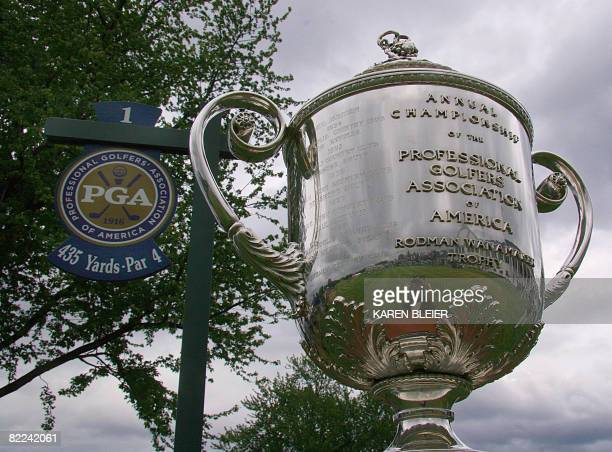 The Wanamaker Trophy on display at the first hole during final round play at the 90th PGA Championship August 10 2008 at the Oakland Hills Country...