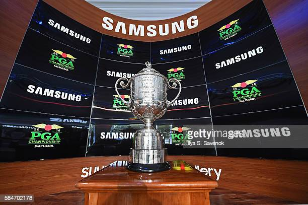 The Wanamaker Trophy on display inside The Samsung Experience at the PGA Championship 2016 at Baltusrol Golf Club on July 30 2016 in Springfield New...