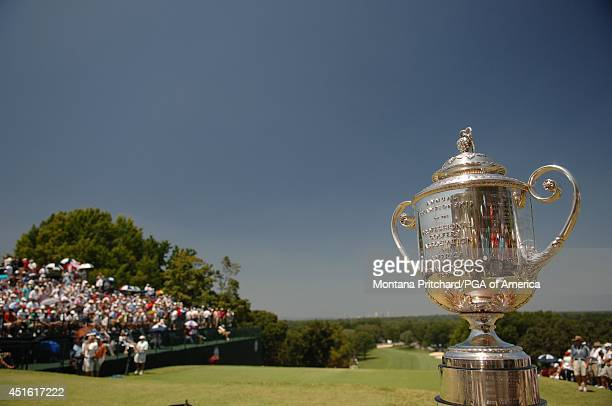 The Wanamaker trophy on No 1 during the Final Round of the 89th PGA Championship held at Southern Hills Country Club in Tulsa Oklahoma Sunday August...