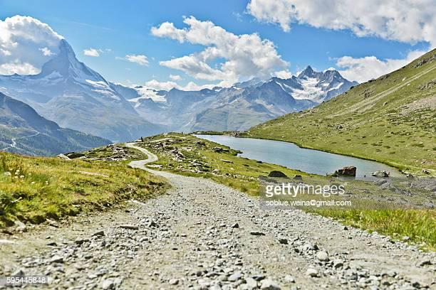 The Wander way, hiking road to Zermatt/Matterhorn near Stellisee, Switzerland